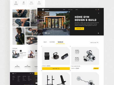 VitalGym. eCommerce website main page health lifestyle training workout banner catalog cards fitness sport gym branding design ecommerce website interface ux ui