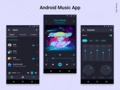 Android Music Player App. The Dark Theme.