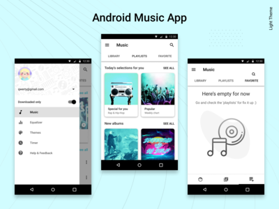 Android Music Player App. The Light Theme.