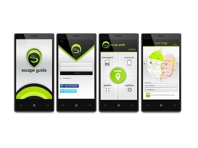Escape Guide concept smartphone ui location services