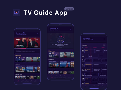 TV Guide app: A concept ux app interface guide tv app dark ui clean ui