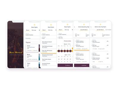 Beau Monde Airline iOS App minimal clean user experience ux class booking mobile app travel iphonex ios ui