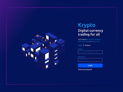 Krypto landing page ui dark minimal clean website page landing exchange currency crypto