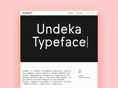 Undeka Typeface Landing footer header wildtype wildpicks webflow flow freebie purchade buy web landing