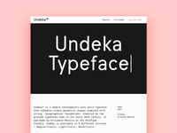 Undeka Typeface Landing
