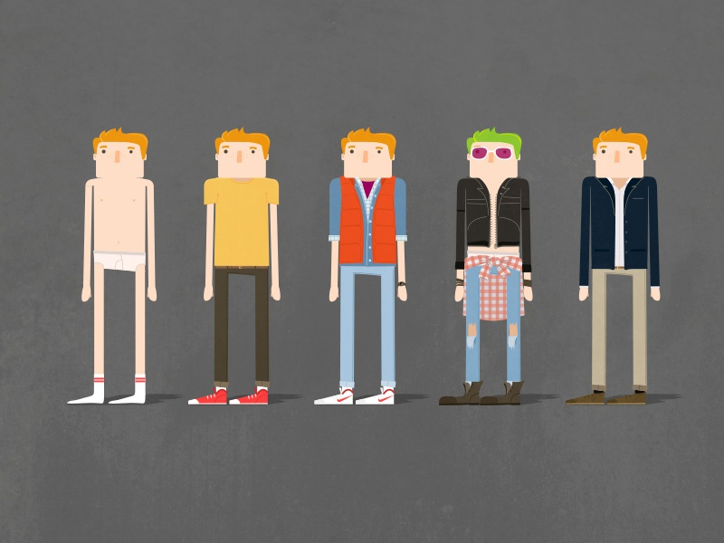 WIP. Marty character styles illustration design motion design characters styleboard back to the future
