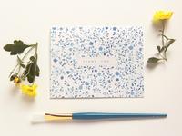 Watercolor Indigo Floral Thank You Card