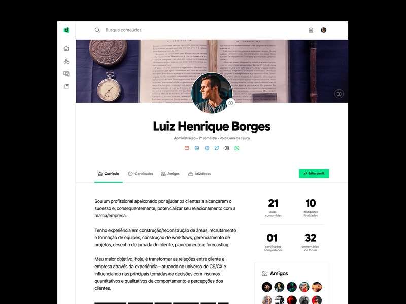LMS Faculdade Descomplica — Profile Page ui  ux ui design interface ui ux design