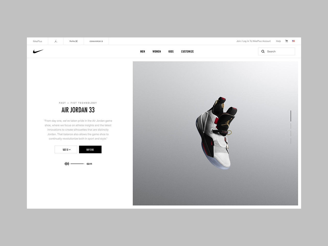 Nike AirJordan XXXIII ui  ux interface ui design design website ux ui
