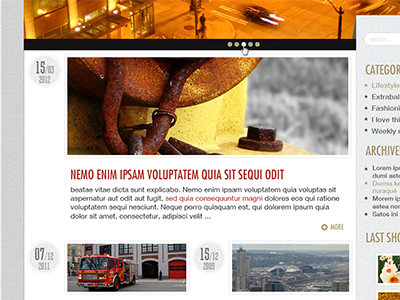 Wordpress template, city inspiration. Work in progress wordpress city template psd