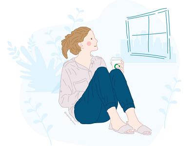 Woman drinking coffee looking out the window woman illustration winter cozy window woman coffee cup starbucks coffee shop coffee flat minimal vector art vector illustration design