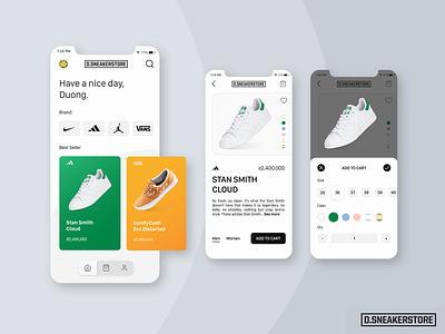 D.SneakerStore Concept App (Daily UI) e-commerce app e-commerce figma design app uiux ui sneakers