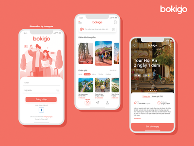 Bokigo - Concept App app e-commerce study illustration traveling travel app travel e-commerce app uiux ui figma design