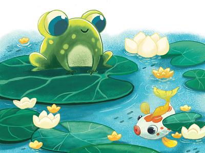 Mr. Froggy and Fishy procraete digitalart illustration classic animation character animation cartooning