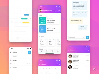 Teacher's Dashboard of a concept School App uiux ux design app design icon ui web ios guide school app teachers dashboard dashboard design app design