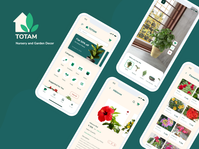 Totam Plant Nursery e-Commerce App UI UX Design