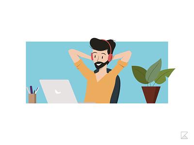 Relaxing - Character Illustration vector illustrator adobe illustrator break work break flat illustration illustration entertainment watching music chillin relax character illustration