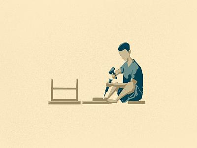 A Carpenter working india tamilnadu carpenter procreate vectornator illustrator vector illustration