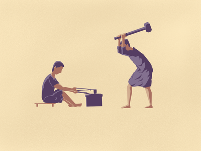 Blacksmith procreate vectornator blacksmiths iron workshop tamil india vector illustration blacksmith illustrator illustration