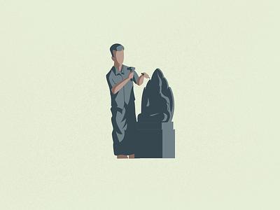 Sculptor sculpture illustration vector art tamil sculpting sculptor vectornator procreate vector illustrator illustration