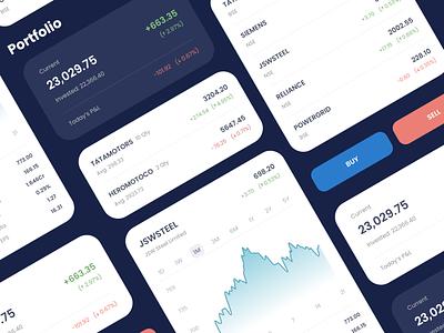 Trading App UI Components ui cards portfolio share market shares stock market stocks ui components uidesign trading app trading uiux app design design ui