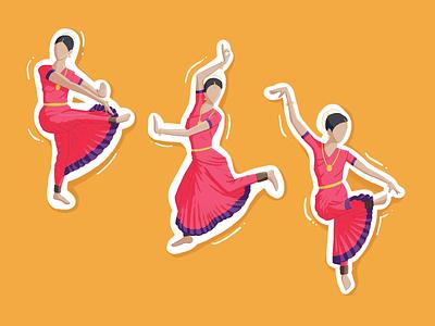 Illustration of Sadhirattam, a classical dance of Tamil Nadu stickers traditional dancer dance poses character poses character tamilnadu tamil bharathanatyam sadhirattam classical dance design procreate illustrator illustration