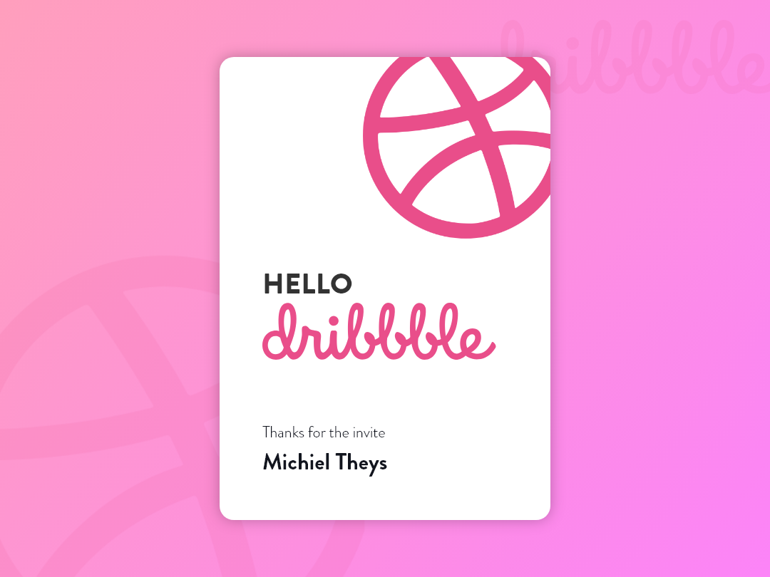 Hello Dribbble first shot debut shot debut thanks for invite thank you hello dribbble