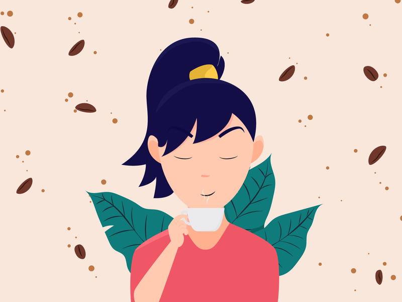 Coffee Lover graphic design adobe coffee beans girl illustration coffee illustrator vector art vector design illustration adobe illustrator