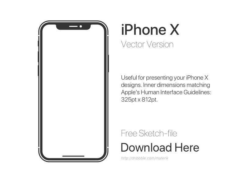Iphone x design template sketch