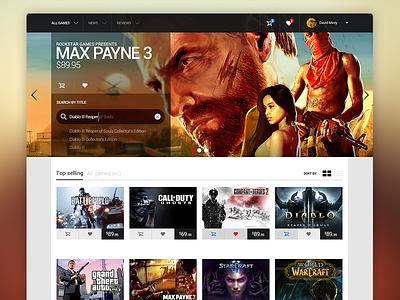 Game Store - Landing page home landing design flat ui layout nav notification web website white interface