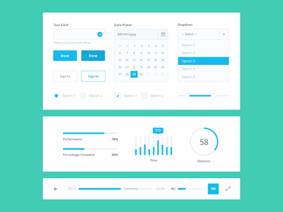 Free PSD: Flat UI Kit calendar flat ui button ui kit colour free form dropdown psd interface chart