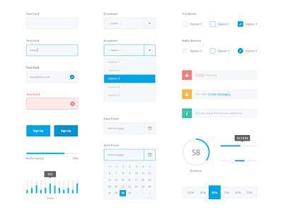 Flat UI kit - Full Set graph minimal kit flat clean interface calendar form notification dropdown button ui kit