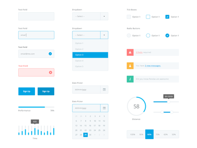 Flat UI kit - Full Set graph minimal kit flat clean interface calendar form notification dropdown button ui kit
