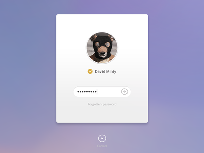 Purple UI - OSX log-in interface web ui widget apple field button simple avatar login white clean minimal