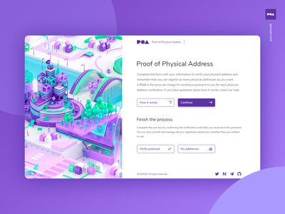 POA Proof of Physical Address 3d isometric website concept clean web app ui icon crypto blockchain bitcoin ethereum