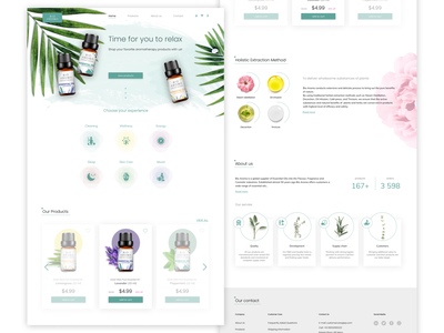 Landing Page - Essential oils natural web oil product essential oils website clean aromatherapy landing page xd web design ui