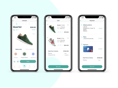 A mobile application to create the perfect pair of sneakers app ui sneakers e-commerce app app mobile xd web design ui