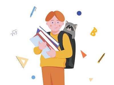 школьник school art hero minimal ui flat artist character vector illustrator illustration design