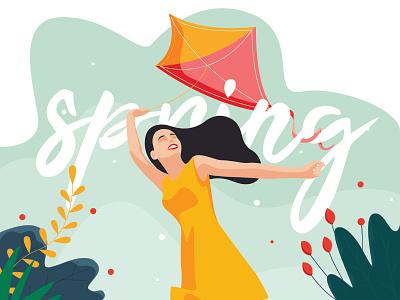 Spring kite sport garden art hero flat artist character vector illustrator illustration design spring