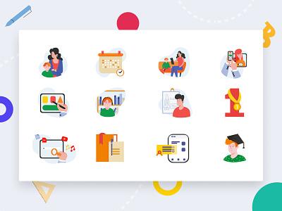 Online school school online icon set icons web art ui flat artist character vector illustrator illustration design