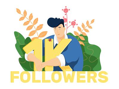 1K Followers spring color garden 1k hero art ui flat artist character vector illustrator illustration design followers
