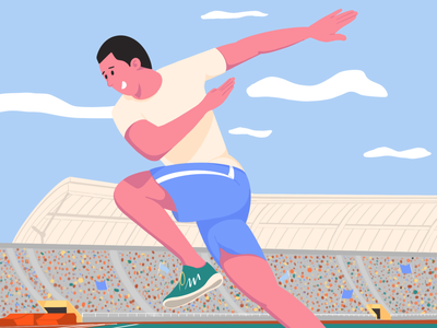 athlete stadium man sport minimal art artist flat character vector illustrator illustration design olympian sportsman athlete