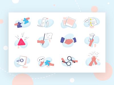 icons set app design dribbble set icons app web art ui artist flat character vector illustrator illustration