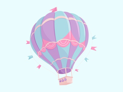 hot air balloon sky balloon flag hotairballoon air ball minimal art hero ui design artist flat vector illustrator illustration