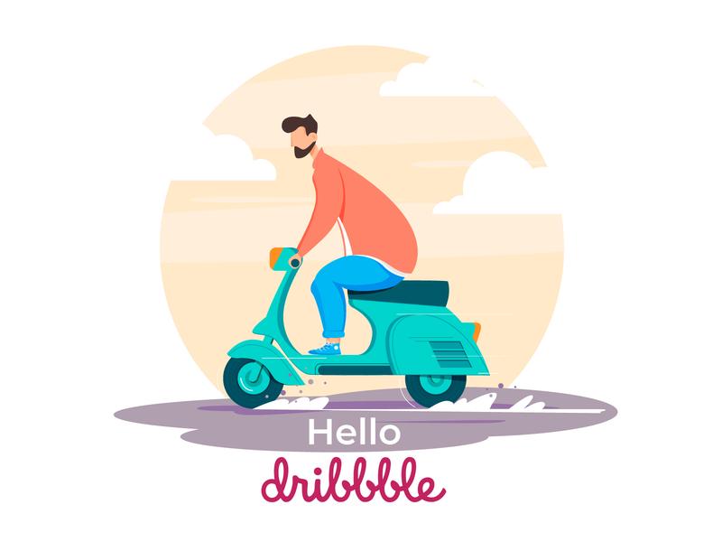 Biker debut shot debut hero character identity illustrator minimal flat web app ux vector ui design illustration