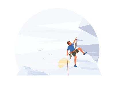 Climber climber mountains athletics web artist vector ui minimal illustrator illustration hero flat design character