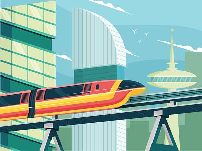 monorail minimal art hero artist ui flat vector illustrator illustration design character monorail