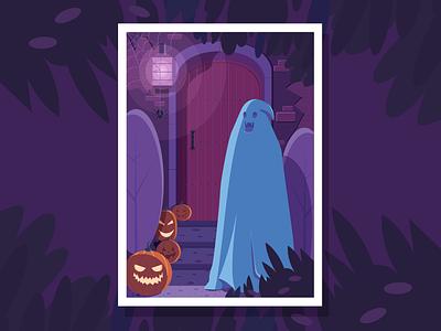 Halloween hero pumpkin ghost drawing art artist flat vector illustrator illustration design character