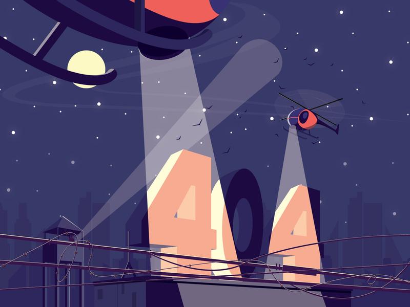 404 light moon night 404page 404 prison jail web art minimal artist flat vector illustrator illustration design