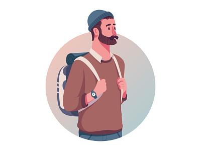 Journey hipster trip travel hero art ui flat artist character vector illustrator illustration design
